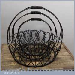 3 No: Vintage Gothic Wrought Iron Work Hanging Fruit Flower Baskets