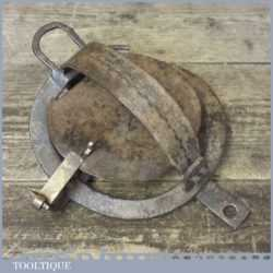 "Antique 7"" round gin trap in good original condition"