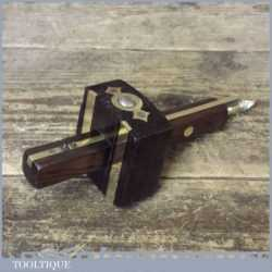 Vintage Rosewood And Brass Mortice Gauge - Good Condition