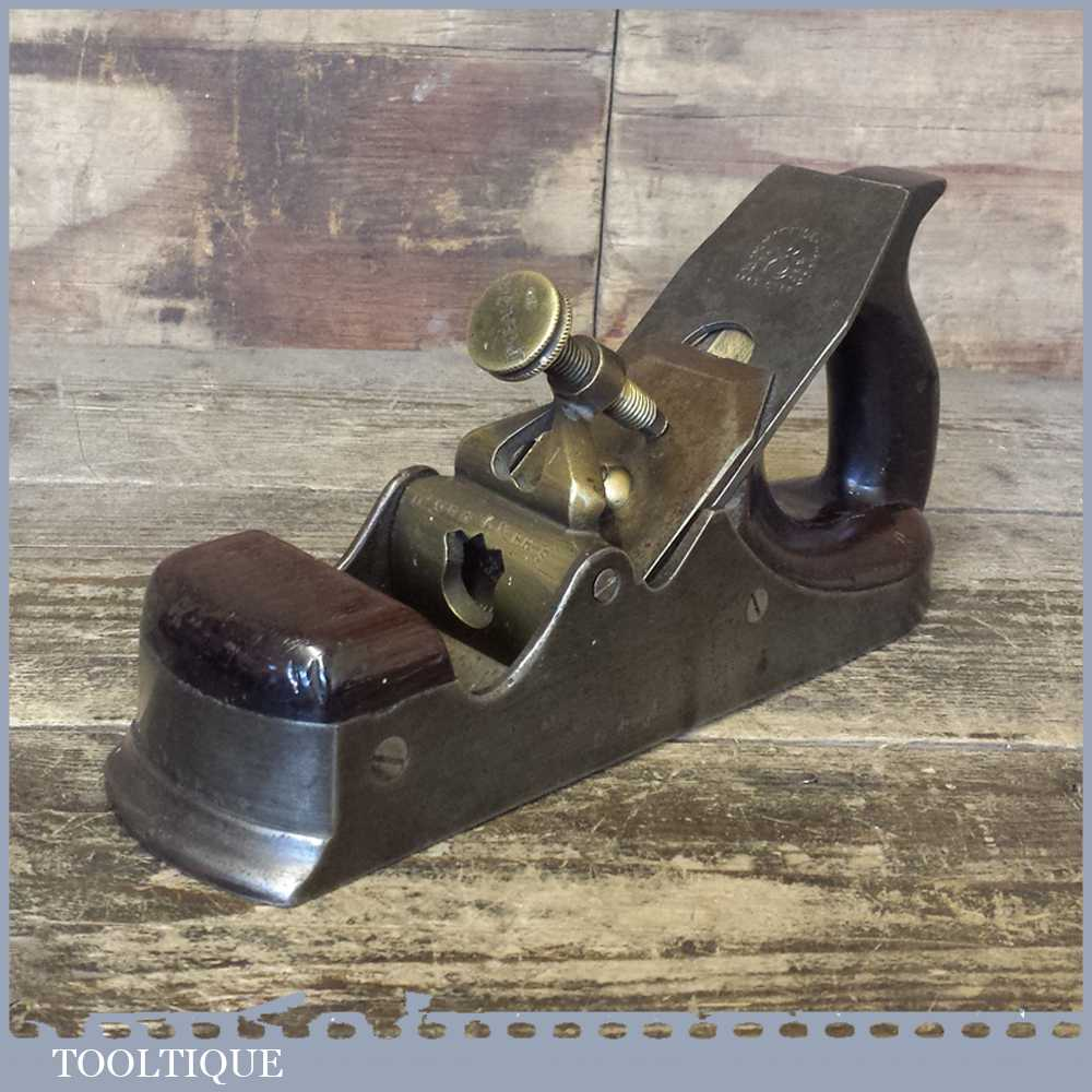 Antique Scottish Infill Smoothing Plane - Heart Shield Brass Lever Cap & Mathieson Iron