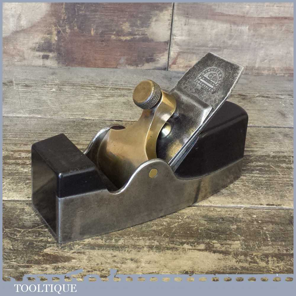 Superb Antique Smoothing Plane With Ebony Infill & Marples Tapered Iron