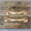 """Vintage Reclaimed Pair Of Polished Solid Brass Door Pull Handles - 7"""" Long"""