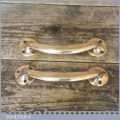 "Vintage Reclaimed Pair Of Polished Solid Brass Door Pull Handles - 7"" Long"