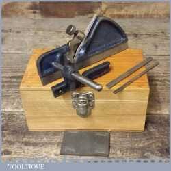 Vintage Record No: 040 plough Plane And 3 Cutters - Nice Wooden Box
