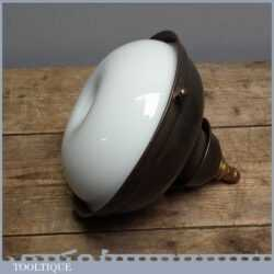 Vintage Retro Hanging Metal And White Coloured Glass Light - 8 Inch