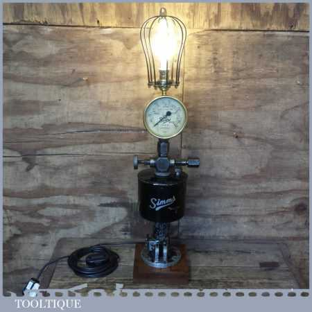 Unique Vintage Industrial Steampunk Light Lamp - Simms Pressure Pump Gauge