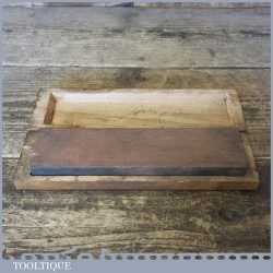 Vintage Medium Grit Oilstone In Wooden Box - Good Condition