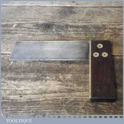 """Vintage Carpenters Rosewood Brass 6"""" Try Square - Good Condition"""