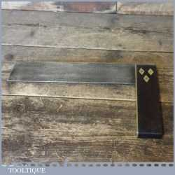 """Vintage Carpenters Rosewood Brass 10 ½"""" Try Square - Good Condition"""