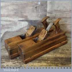 Rare Early 19th C Antique Pair Varvill & Sons Beech Wood Tongue And Groove Planes