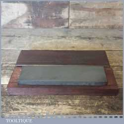 "Vintage 8"" x 2"" Medium Grit Oil Stone In Mahogany Box - Good Condition"