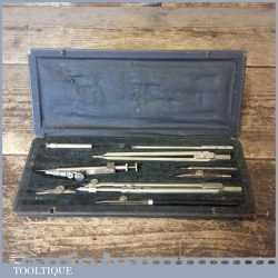 Vintage Technical Drawing Set In Case Inscribed GS - Good Condition