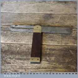"""Vintage Rosewood And Brass Sliding Bevel With 9"""" Blade - Good Condition"""