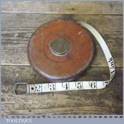Vintage Rabone 66 ft Leather Bound Metallic Wired Tape Measure In Good Order