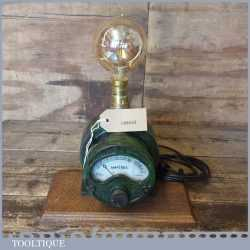 Vintage Amp Meter Steampunk Conversion Industrial Light Lamp - Wired PAT Tested