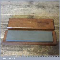 """Vintage 8"""" x 2"""" Combination Oil Sharpening Stone In Beech Box - Good Condition"""