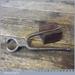 Antique Blacksmith Hand Forged Pincer With Featured Centre Scroll