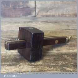Vintage Rosewood Brass Mortise Gauge Smooth Action - Good Condition