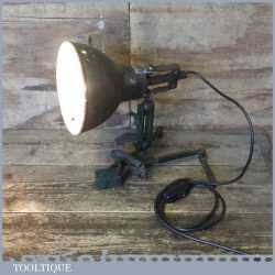 Unusual Vintage Industrial Machine Age Lamp Spring Loaded Grip - Electrically Inspected