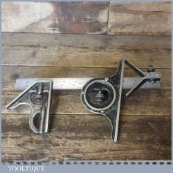 Vintage Moore & Wright Steel Combination Square Protractor Centre Finder