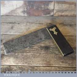 """Vintage carpenters ebony and brass 7 ½"""" try square"""