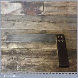 """Vintage Carpenters Rosewood Brass 12"""" Try Square - Good Condition"""