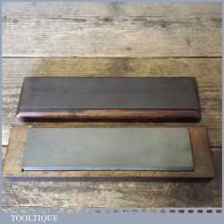 """Vintage 8"""" x 2"""" Fine Grit Natural Llyn Idwal Oil Stone - With Leather Strop"""