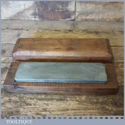 "Vintage 9"" x 2 ¼"" Natural Charnley Oil Stone In Pine Box - Good Condition"