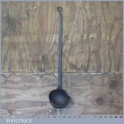 Massive Antique Blacksmith's Hand Forged Drenching Ladle - Very Decorative