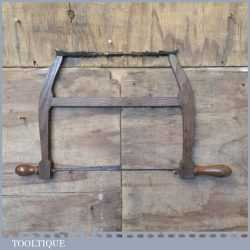 "Vintage 14"" Oak Framed Bow Saw With Metal Tension Bracket - Good Condition"
