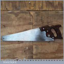 """Vintage Henry Disston USA 20"""" Handsaw With 9 TPI - Sharpened Cross Cut"""