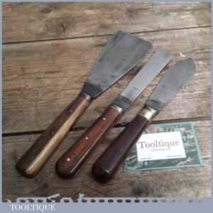 Two Quality Rosewood Handled Scrapers & Putty Knife - Decorators Tools
