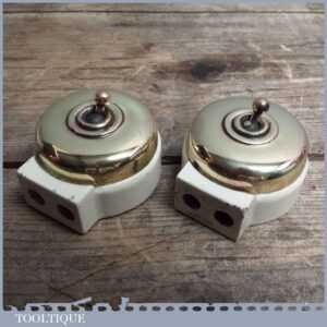 Two Reclaimed Vintage of Porcelain & Brass Switch Sockets