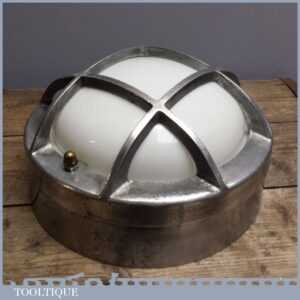 Vintage 12 Aluminium Industrial Bulk head Light - Old Ship Porthole Style Lamp
