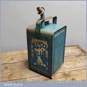 Vintage 1950s ESSO Valor Blue Paraffin Tin Can Garage Car Oil Petrol Advert