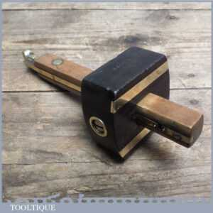 Vintage Beech, Ebony & Brass Mortice Gauge - Old Carpenters Marking Tool