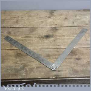 Vintage Chesterman Steel Folding Rule - No 581s Square Ruler