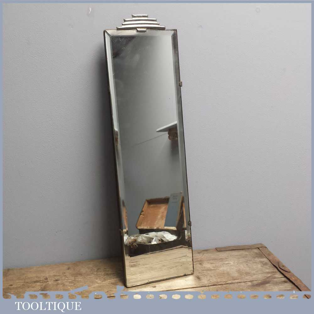 Deco Bathroom Mirror: Vintage Frameless Narrow Art Deco Bevel Edge Bathroom Mirror