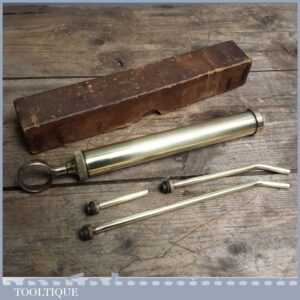 Vintage MOD Brass Grease Syringe - Old Oil gun by CJA & N - Boxed VGC