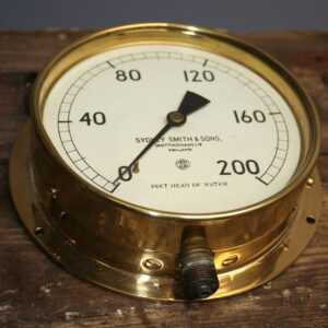 Vintage Old 6 Brass Machine Water Gauge by Sydney Smith & Sons Nottingham