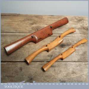 hree Various Sizes Vintage Boxwood Spokeshaves - Antique Woodworkers Tools