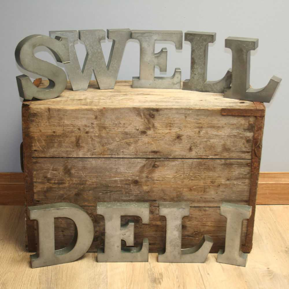 """Industrial Letters Wall Hanging 9 No X 8"""" Wall Hanging Galvanised Steel Raised Industrial Letters"""