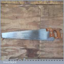 "Vintage 24"" Spear And Jackson 'Spearfast' Greenwood Hand Saw - Freshly Sharpened"